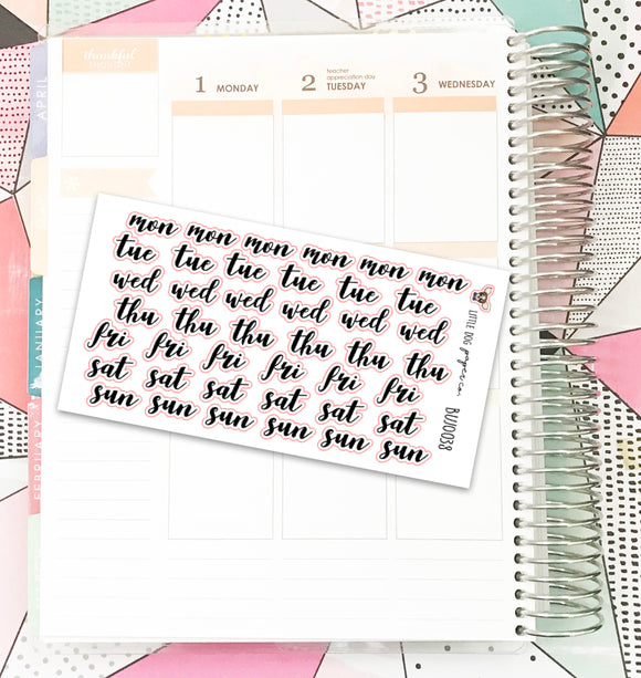 BUJO038 // Brush Script Weekday Headers // Planner Stickers // Bullet Journal