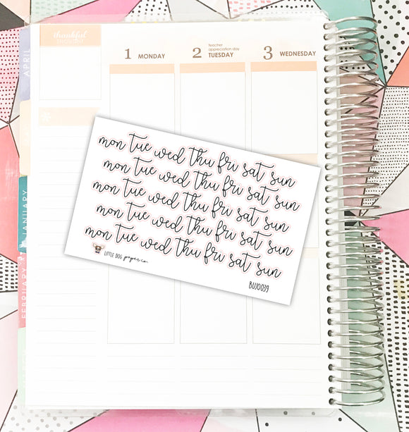 BUJO039 // Loop Script Weekday Headers // Planner Stickers // Bullet Journal