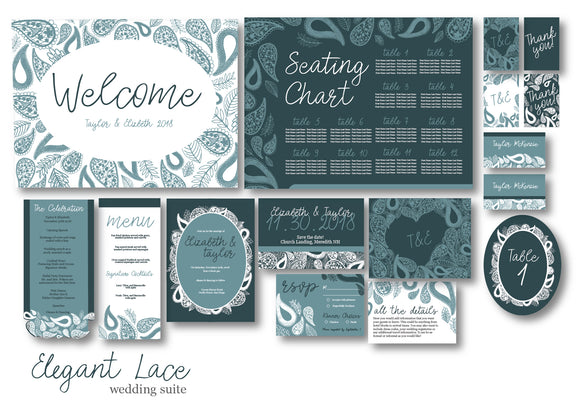 Elegant Lace Wedding Invitation Suite