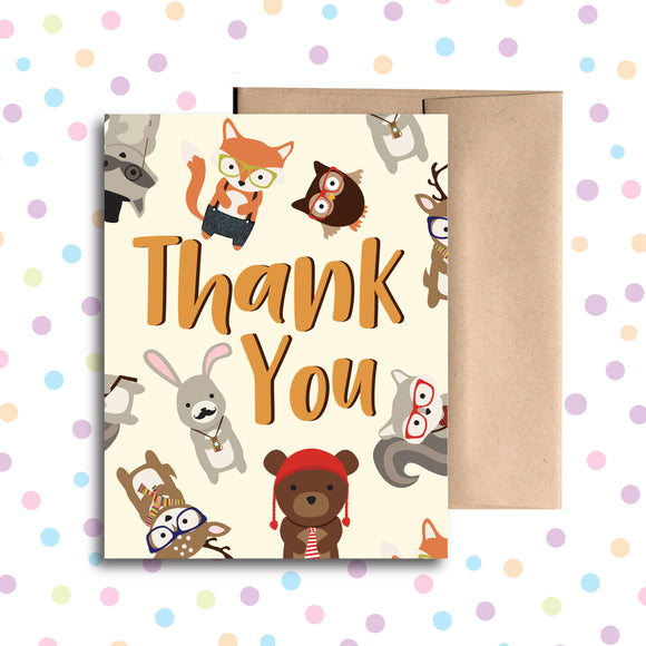 GC0123 Hipster Animal Thank You Card