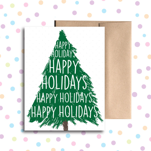 GC0147 Happy Holidays Christmas Tree Card