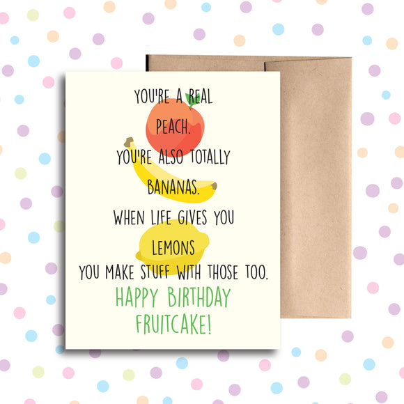 GC040 Happy Birthday Fruitcake Card