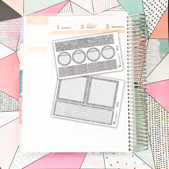 NOTE03 // Notes Pages Kit // Gray Glitter