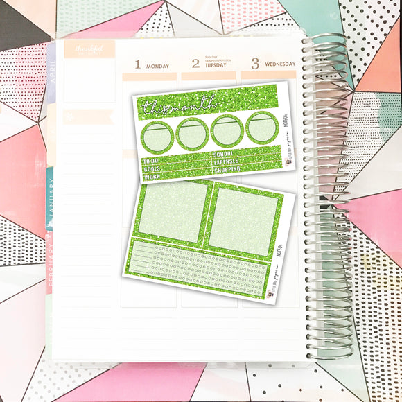 NOTE04 // Notes Pages Kit // Green Glitter