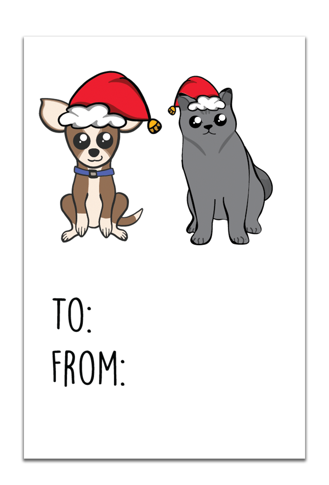 Gt013 Cat And Dog Christmas Gift Tags Little Dog Paper Co