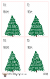 GT018 Happy Holidays Christmas Tree Gift Tags