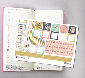 HOBOWK051 // Hobonichi Weeks Planner Sticker Kit // Flamingos