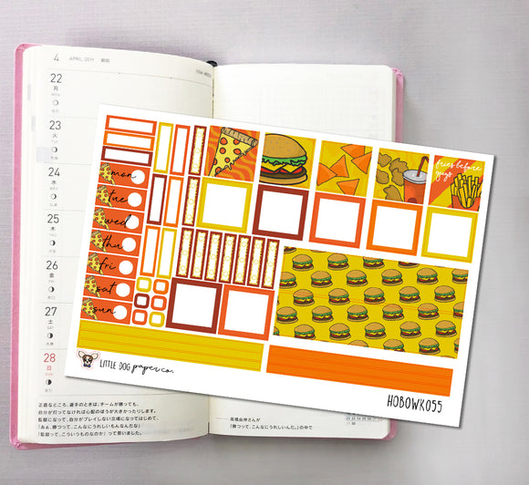 HOBOWK055 // Hobonichi Weeks Planner Sticker Kit // Fast Food