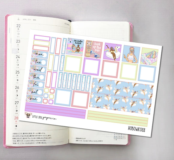 HOBOWK088 // Hobonichi Weeks Planner Sticker Kit // Unicorn Pool Party