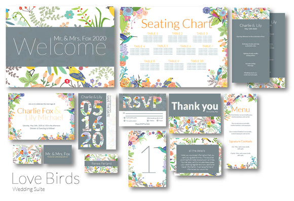 Love Birds Wedding Invitation Suite