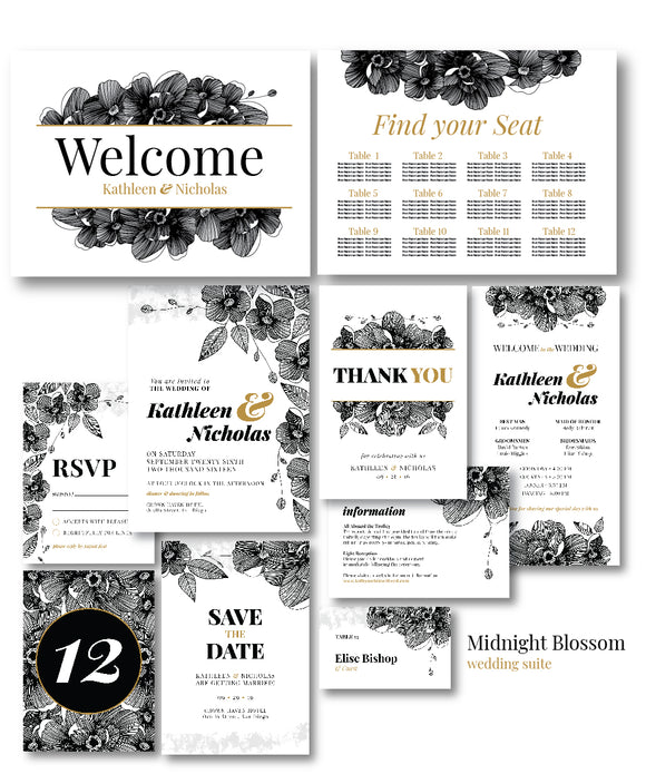 Midnight Blossom Wedding Invitation Suite
