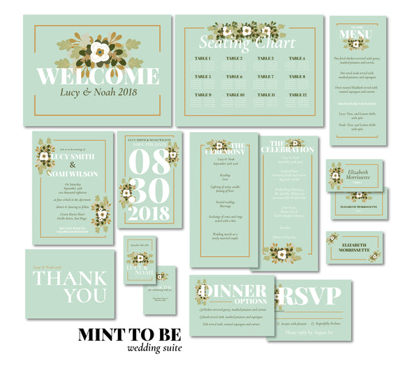 Mint Floral Wedding Invitation Suite