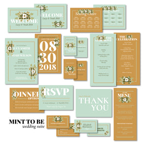 Mint & Caramel Wedding Invitation Suite