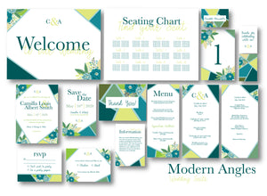 Modern Angles Wedding Invitation Suite