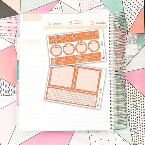 NOTE07 // Notes Pages Kit // Orange Glitter