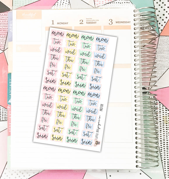 PAST011 // Weekday Headers // Pastel