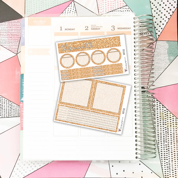 NOTE08 // Notes Pages Kit // Peach Glitter