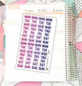 PINK011 // Weekday Headers // Pink