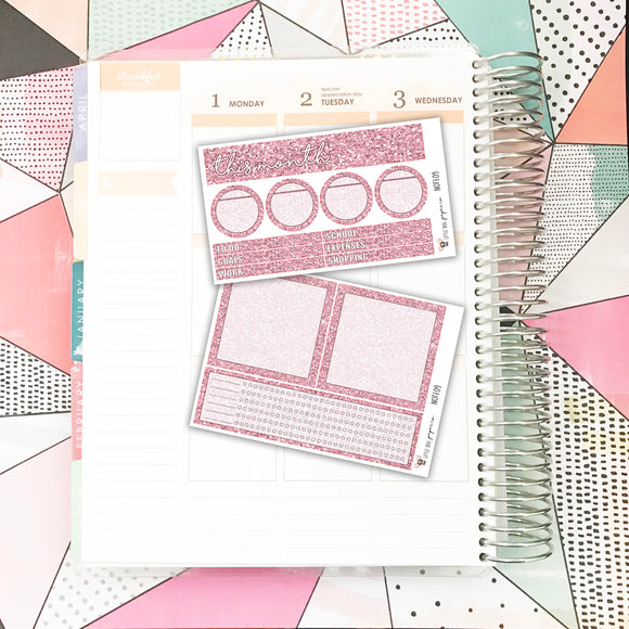 NOTE09 // Notes Pages Kit // Pink Glitter