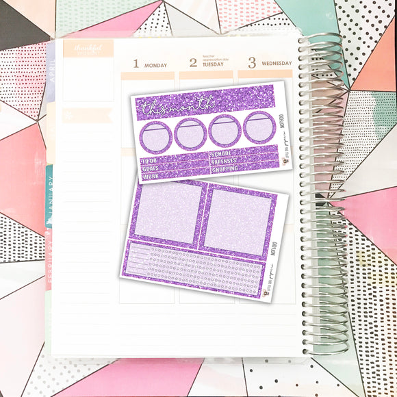 NOTE010 // Notes Pages Kit // Purple Glitter