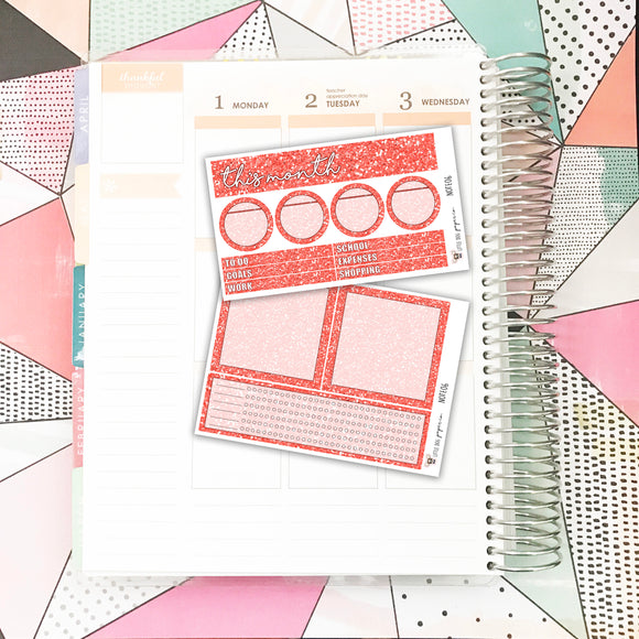 NOTE06 // Notes Pages Kit // Red Glitter
