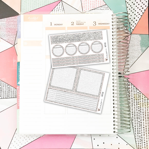NOTE011 // Notes Pages Kit // Silver Glitter