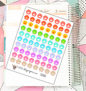 SS0102 // 80 Colorful Pawprint Stickers // Life Planner
