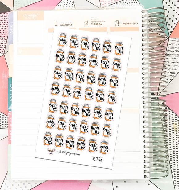 SS0148 // Refill Rx // Planner Stickers