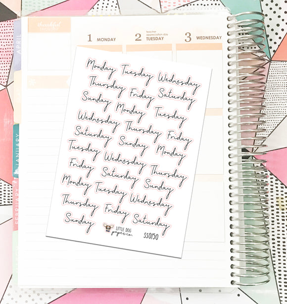 SS0150 // Days of the Week Script 2 // Planner Stickers
