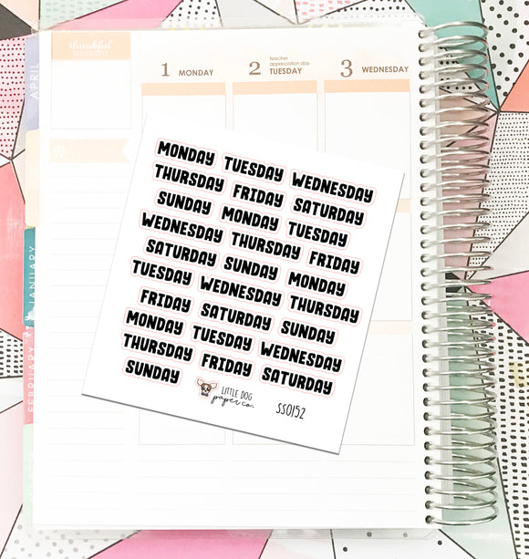 SS0152 // Days of the Week Block 1 // Planner Stickers
