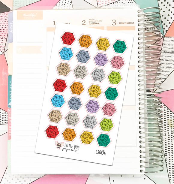 SS0156 // D20 Dice // Planner Stickers