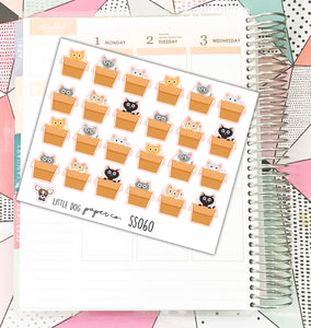 SS060 Cats in Boxes Stickers // Planner Stickers