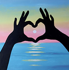 Sunset Love 12x12 Canvas -- Saturday, July 27that 2pm