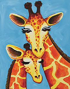 Giraffe Family 16x20 Canvas -- Saturday, August 17th at 2pm