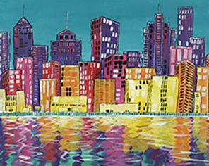 Abstract City 16x20 Canvas -- Friday, August 16th at 6pm