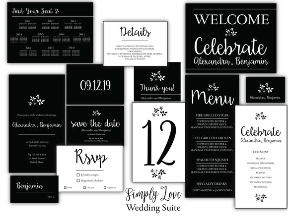 Simply Love Wedding Invitation Suite
