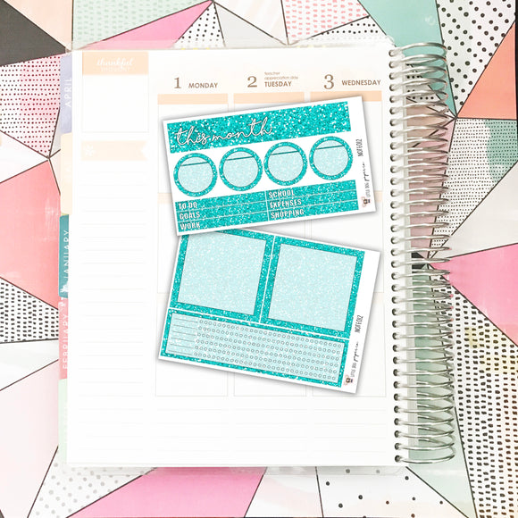 NOTE012 // Notes Pages Kit // Turquoise Glitter
