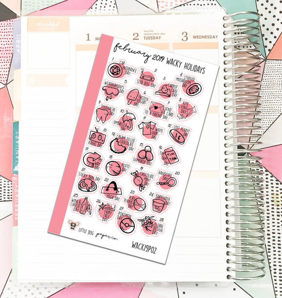 WACK19P02 // FEBRUARY 2019 Wacky Holidays // Personal Planner Size