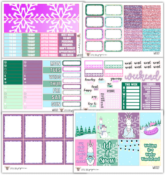WK027 // Winter Unicorn Collection // Planner Stickers
