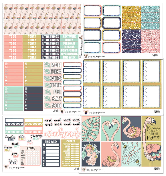 WK051 // Flamingo Collection // Planner Stickers