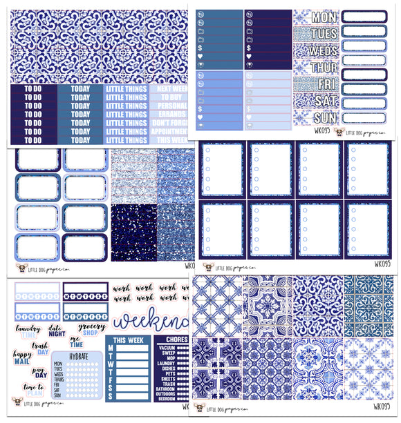WK095 // Cool Azul Tile Collection // Planner Stickers