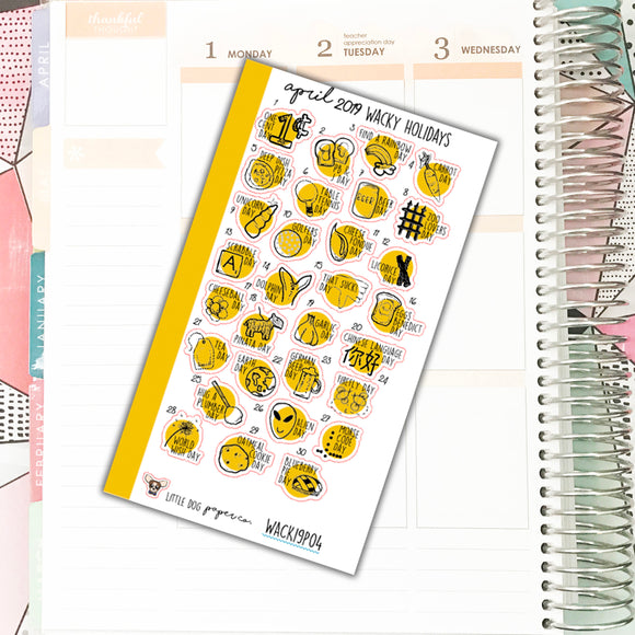 WACK19P04 // APRIL 2019 Wacky Holidays // Personal Planner Size