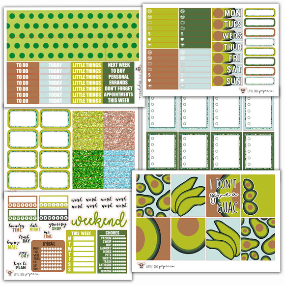 WK01 // Avocado Weekly Kit // Planner Stickers