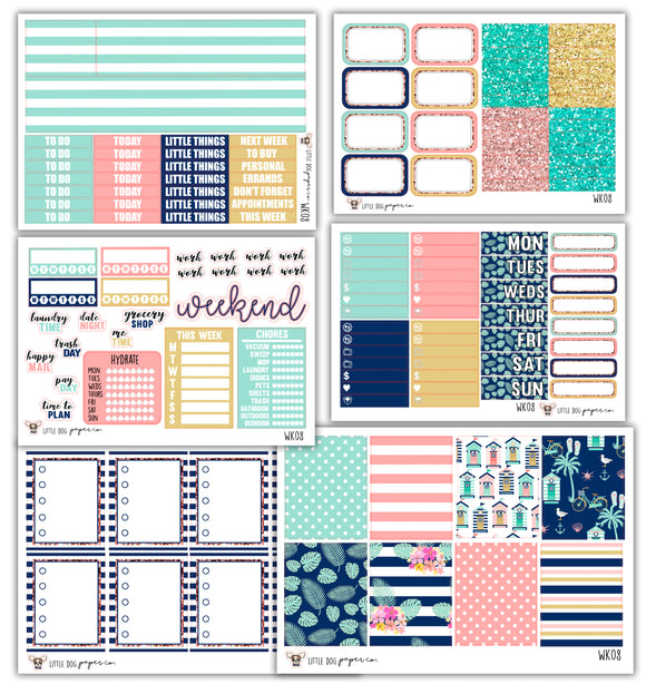 WK08 // Beach House Collection // Planner Stickers