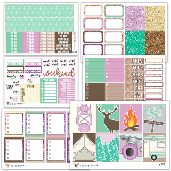 I Heart Camping Kit // Planner Stickers