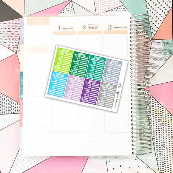 SS030 // Stackable Sidebar | Chore Tracker | Cool Colors // Planner Stickers