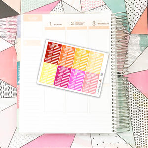 SS031 // Stackable Sidebar | Chore Tracker | Warm Colors // Planner Stickers