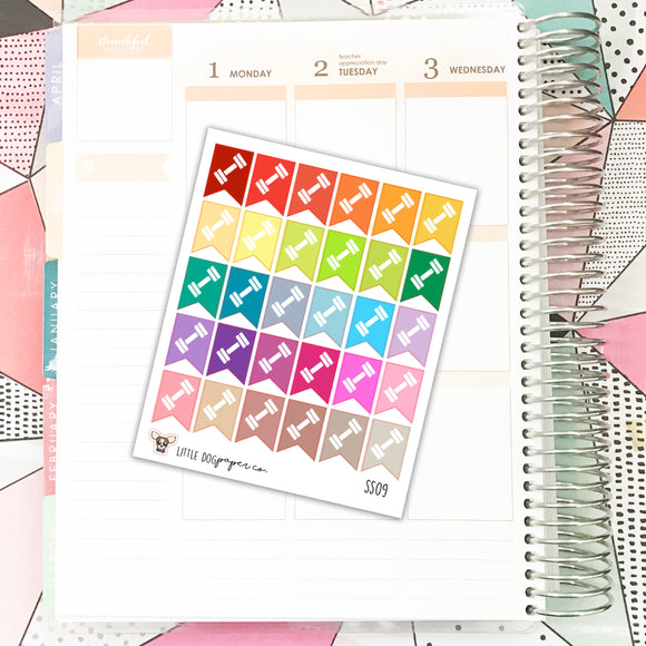 SS09 // Dumbbell Flags // Planner Stickers