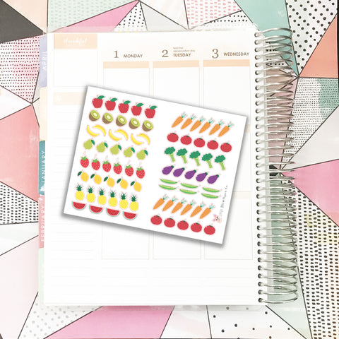Fruits and Veggies Stickers // Planner Stickers
