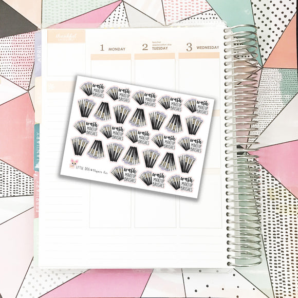 SS023 // Wash Makeup Brushes Stickers // Planner Stickers